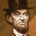 "Lincoln with Cabernet, Oil on Canvas 6""x12"""
