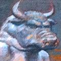 "Minotaur with Merlot, Oil on Canvas 6""x12"""
